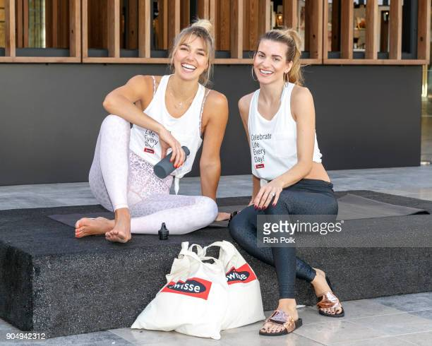 Swisse Wellness brand ambassador international model and yoga guru Ashley Hart and actress/model Rachel McCord pose for a photo at A Mindful Morning...