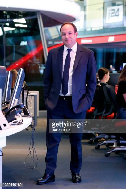 SwissIsraeli CEO of the international television station i24 News Frank Melloul poses for a picture at the station's headquarters in Tel Aviv's...