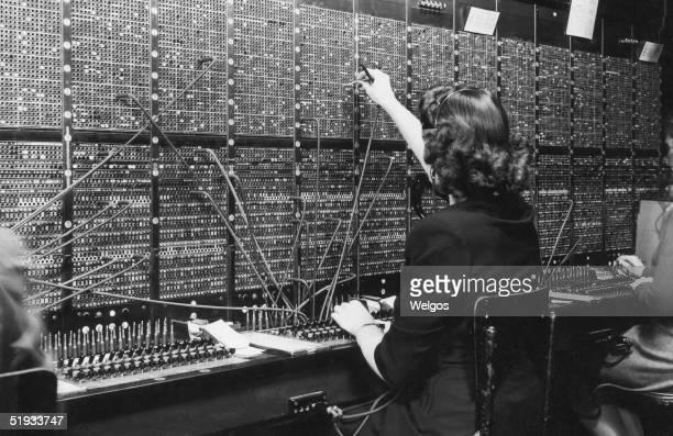 A switchboard operator at work circa 1945