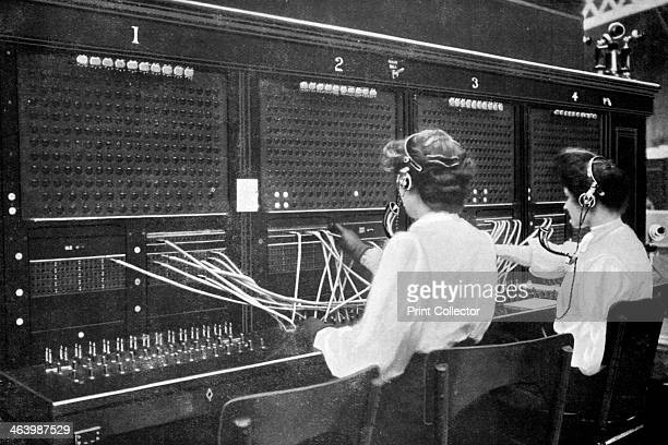 Switchboard operators at work early 20th century