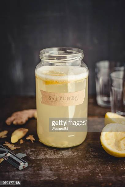 Switchel, homemade drink with ginger, apple vinegar, honey and lemon
