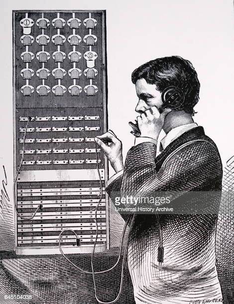 Switchman connecting a call at the Central Telephone Exchange 198 Broadway New York Originally the Gold and Stock Telegraph company it was later...