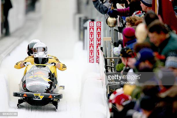 Switzerland 1 piloted by Ivo Ruegg crosses the finish line in the second run of the 4man bobsled competition during the FIBT Bob Skeleton World Cup...