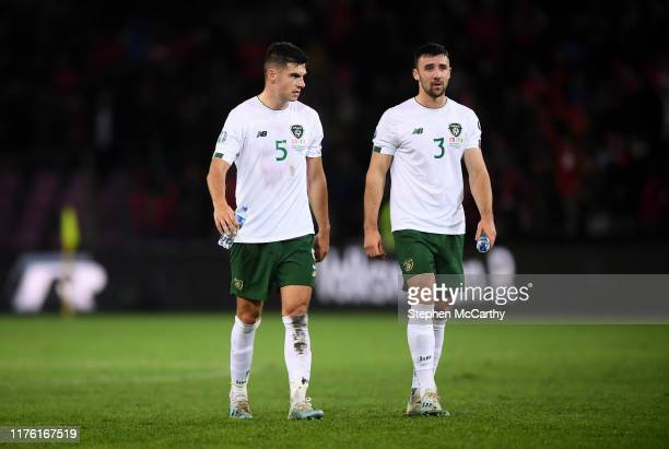 Switzerland - 15 October 2019; John Egan, left, and Enda Stevens of Republic of Ireland following the UEFA EURO 2020 Qualifier match between...