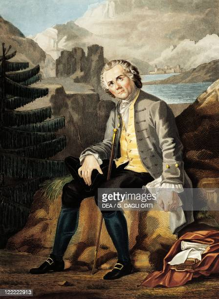 Switzerland 18th century JeanJacques Rousseau persecuted and without asylum in exile in Switzerland Engraving by Charon