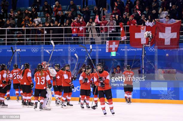 Switzerland acknowledge their fans after defeating Japan 1-0 during the Women's Ice Hockey Classification game on day eleven of the PyeongChang 2018...