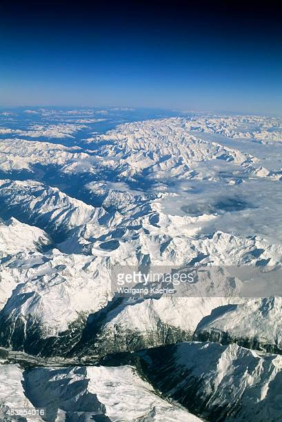 Switzerland Aerial View Of Alps In Winter