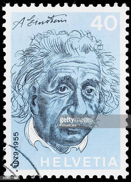 switzerland albert einstein postage stamp - albert einstein stock pictures, royalty-free photos & images