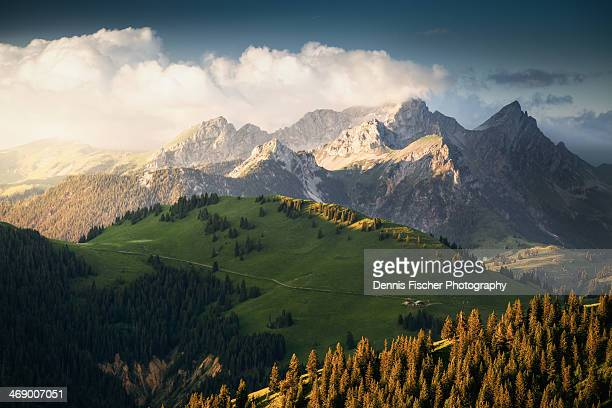 switzerland alps sunset - switzerland stock pictures, royalty-free photos & images