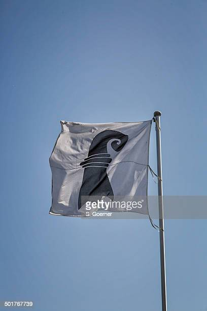 switzerland and flag of canton basel stadt - stadt stock pictures, royalty-free photos & images