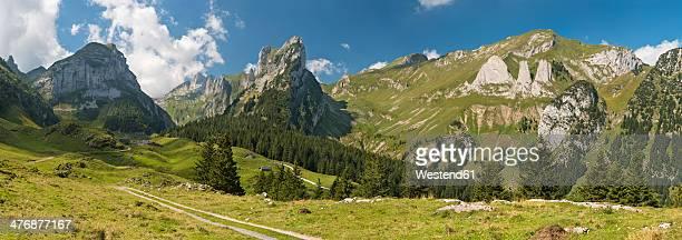 Switzerland, Appenzell, Alpstein, View on Widderalpstoeck and Dreifaltigkeit