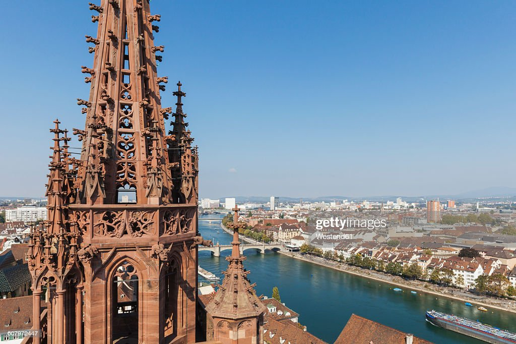 Switzerland, Basel, Basel Minster Tower, city and Rhine River view from Basel Minster : Stock Photo