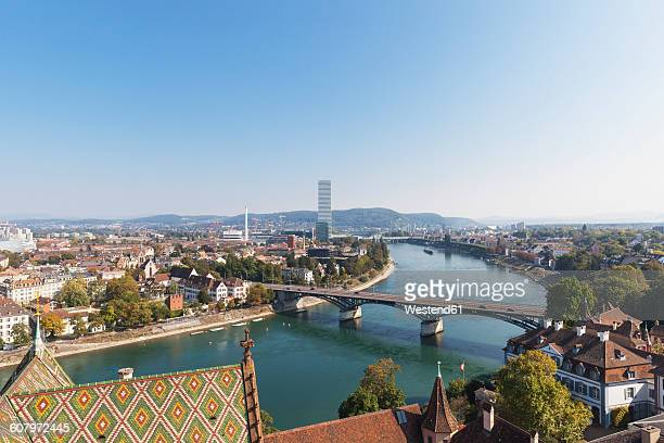 switzerland, basel, city and rhine river as seen from basel minster - basel switzerland stock pictures, royalty-free photos & images