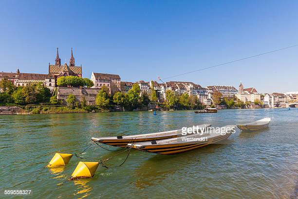 Switzerland, Basel, city view from the bank of the Rhine