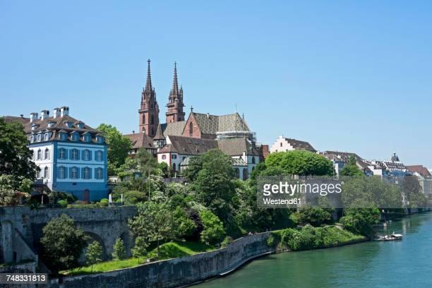 Switzerland, Basel, city view with minster from Wettstein Bridge