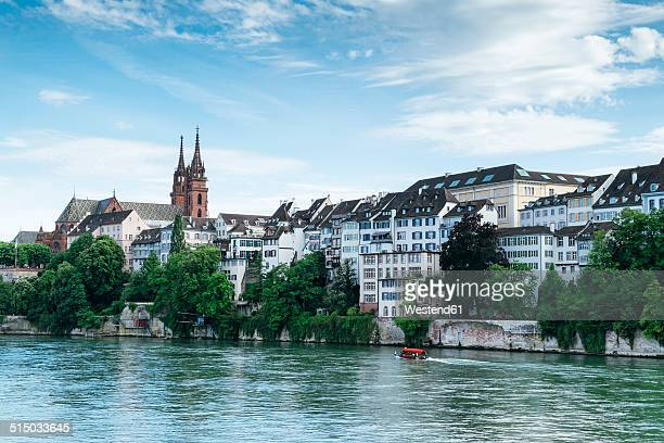 switzerland, basel, cityscape with river rhine and minster - basel switzerland stock pictures, royalty-free photos & images