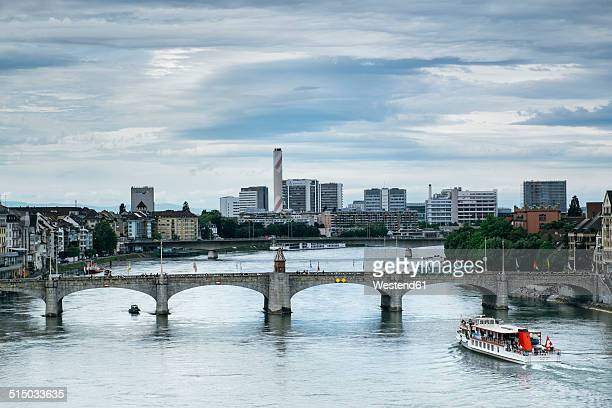 Switzerland, Basel, Cityscape with River Rhine and Mittlere Bruecke