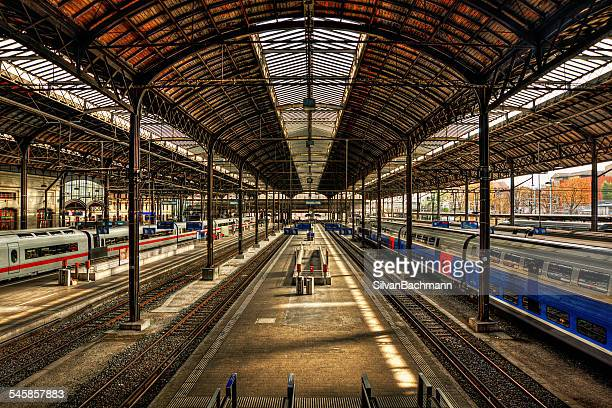 switzerland, basel, empty railroad platform - basel switzerland stock pictures, royalty-free photos & images