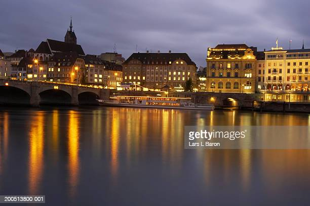 Switzerland, Basel, Old Town and River Rhine at dusk (long exposure)