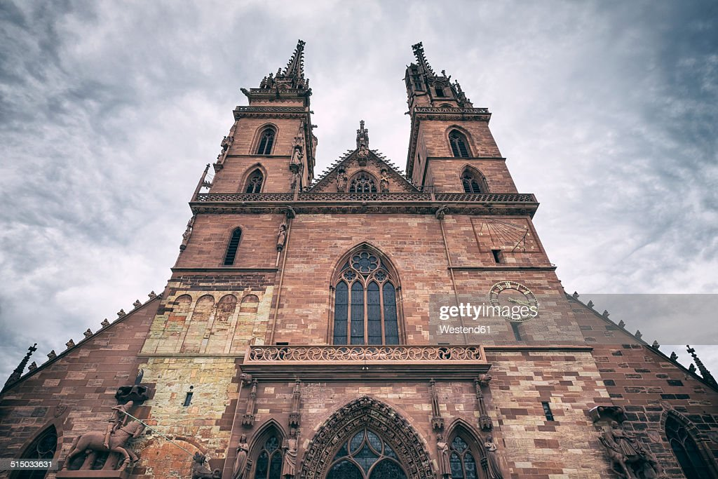 Switzerland, Basel, Twin towers of Minster : Stock Photo