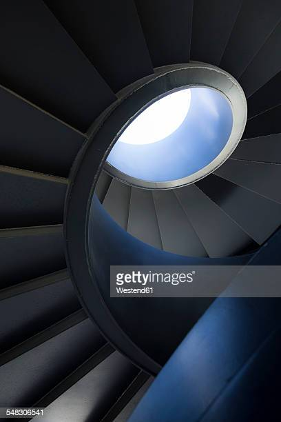 switzerland, basel, vogesenplatz, spiral stairs, low angle view - basel switzerland stock pictures, royalty-free photos & images