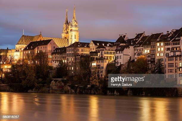 Switzerland, Basel-Stadt, Basel, Basel Minster and Rhine River