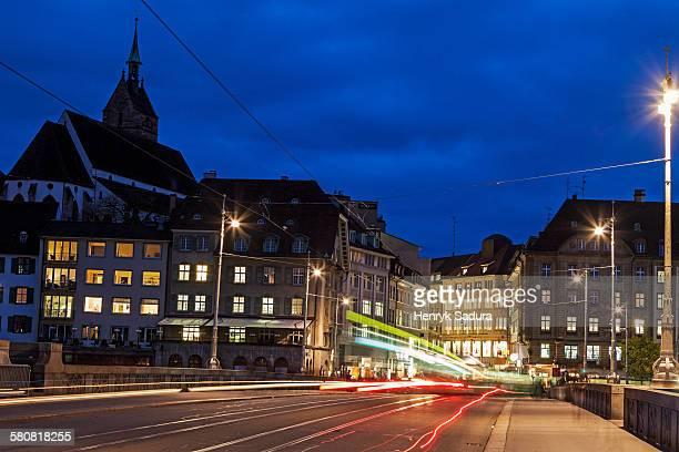 Switzerland, Basel-Stadt, Basel, Mittlere Bridge at night