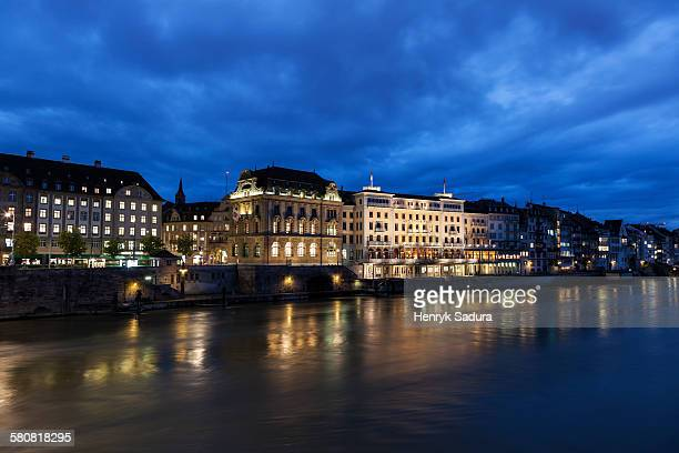 switzerland, basel-stadt, basel, old town at night - basel switzerland stock pictures, royalty-free photos & images
