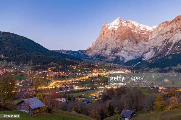 Switzerland, Bern, Bernese Oberland, holiday resort Grindelwald, Wetterhorn in the evening