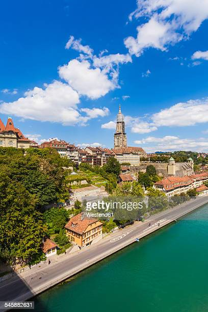 Switzerland, Bern, cityscape with minster and River Aare