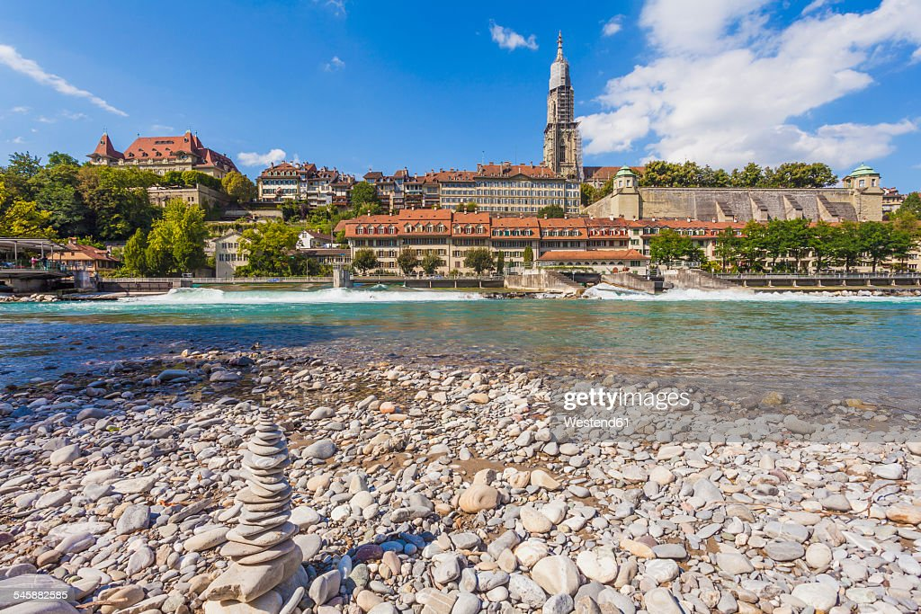 Switzerland, Bern, heap of stones at River Aare : Stock Photo