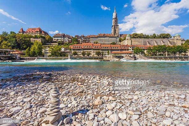 Switzerland, Bern, heap of stones at River Aare