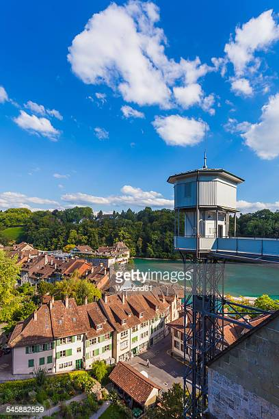 Switzerland, Bern, old town, River Aare and lift to minster platform