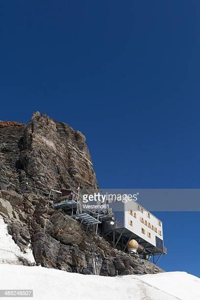 Switzerland, Bernese Oberland, Aletsch Glacier, Monch hut at the Jungfraujoch