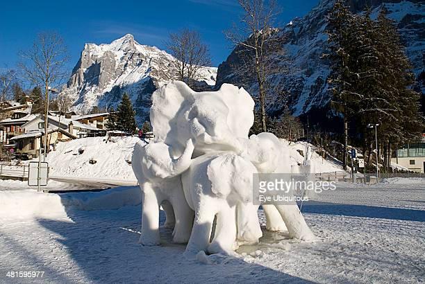 Switzerland Bernese Oberland Grindelwald World Snow Festival Ice Sculpture depicting elephants Great Britain entry