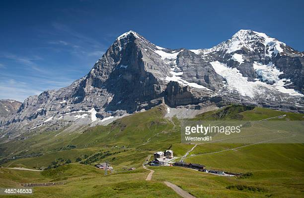 Switzerland, Bernese Oberland, Jungfrau massif with hotel and jungfrau railway