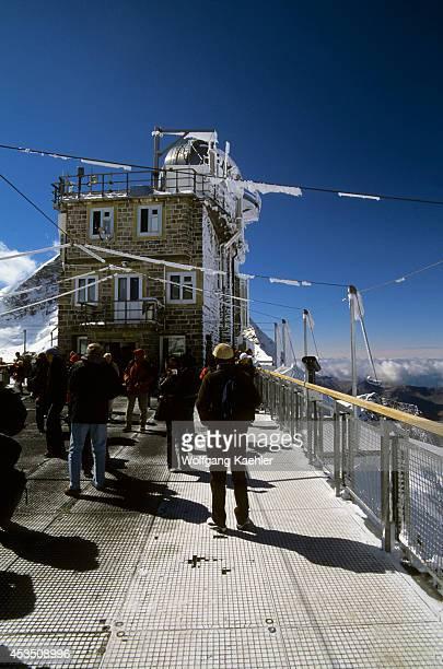 Switzerland Bernese Oberland Jungfraujoch Sphinx Viewpoint Tourists