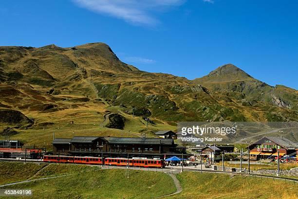 Switzerland Bernese Oberland Jungfraujoch Train View Of Kleine Scheidegg Train Station