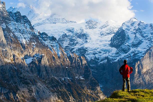Switzerland, Bernese Oberland, man overlooking Swiss Alps, rear view