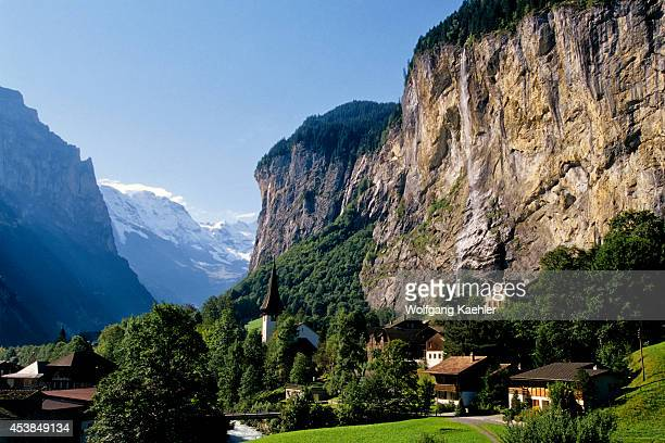 Switzerland Bernese Oberland View Of Lauterbrunnen Waterfall