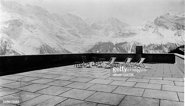Switzerland BernKanton Bernese Oberland Muerren deck of the Hotel Alpina Architect Arnold Itten Photographer Fotografisches Atelier Ullstein...