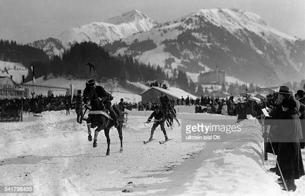 Switzerland BernKanton Gstaad Winter sports Skijoering by a horse race Published by 'Dame' 1942Vintage property of ullstein bild