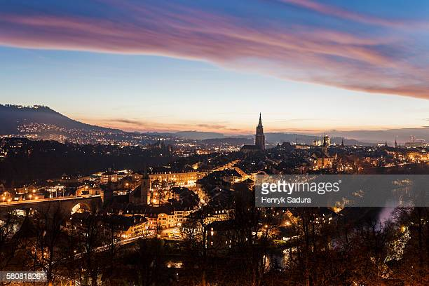 Switzerland, Bern-Mittelland, Bern, Old town at sunset