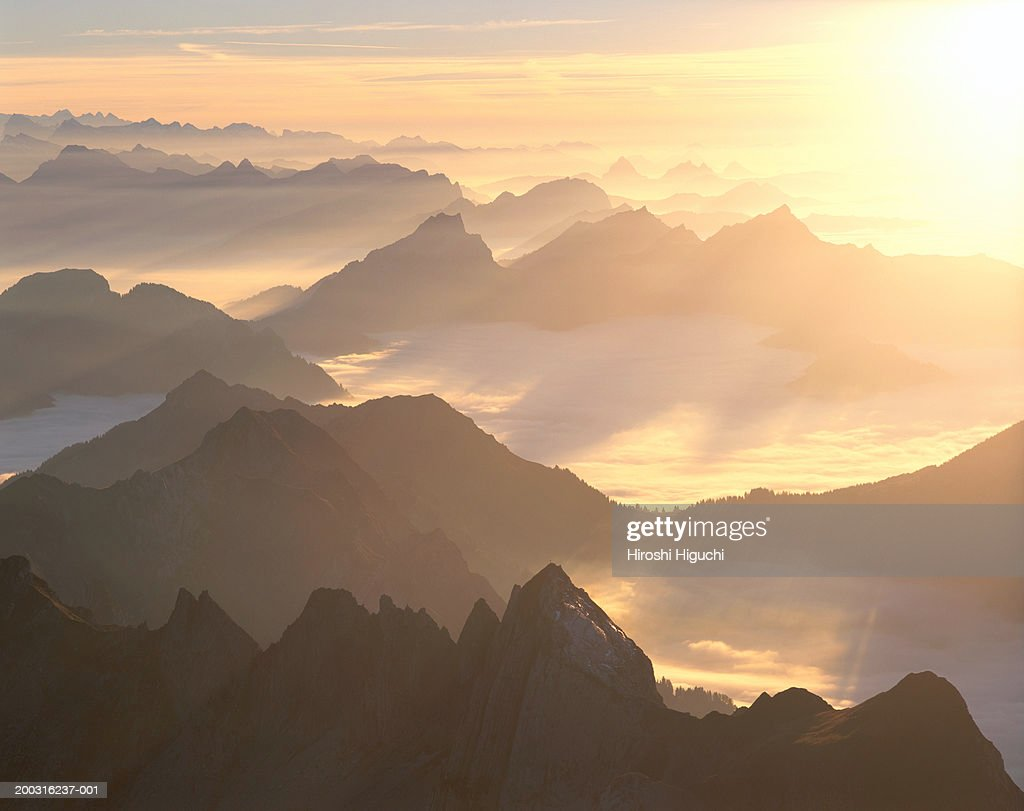 Switzerland Canton Appenzell Innerrhoden Santis Sunset Stock Photo