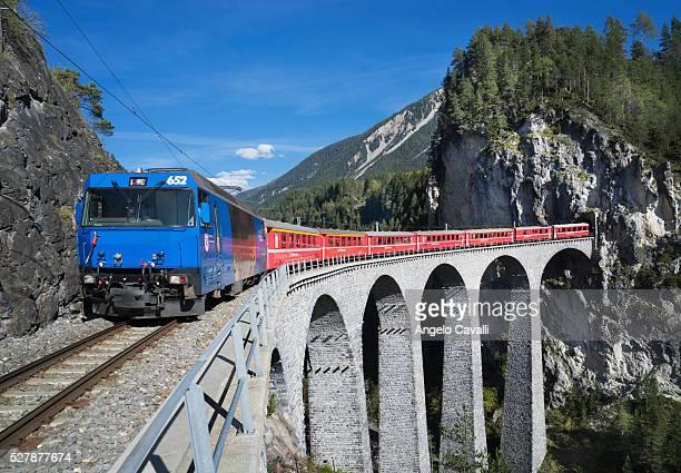 Switzerland. Canton Graubunden. Filisur. Bernina Express Railway. Landwasser Viadukt.