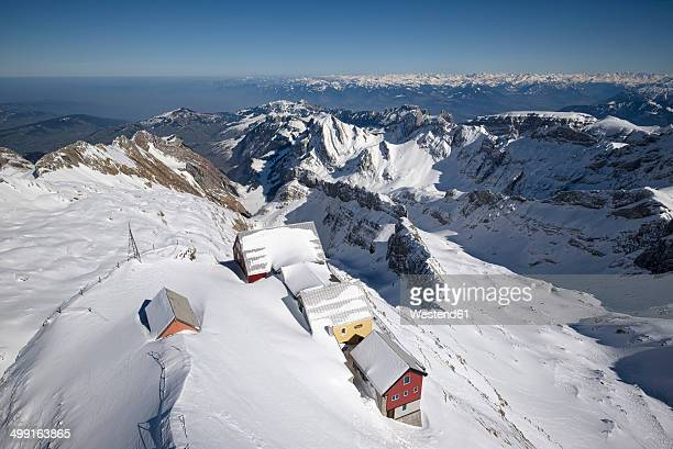 Switzerland, Canton of Appenzell Ausserrhoden, mountain inns at Saentis, in the background Appenzell Alps