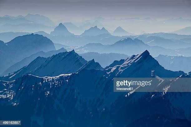 Switzerland, Canton of Appenzell Ausserrhoden, View from Saentis to Swiss Alps