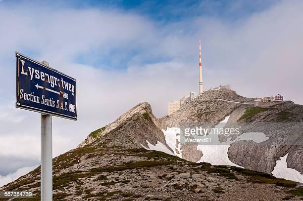 Switzerland, Canton of Appenzell Innerrhoden, Mountain Station Saentis, sign Lysengrat