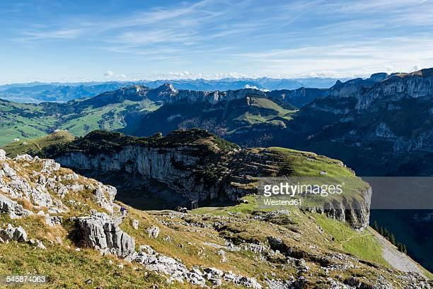 Switzerland, Canton of Appenzell Innerrhoden, View to Alp Chlus, in the background Hoher Kasten