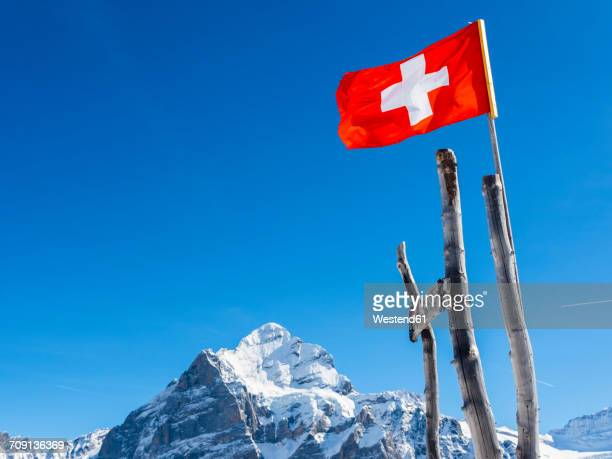 Switzerland, Canton of Bern, Grindelwald, Swiss flag in the mountains